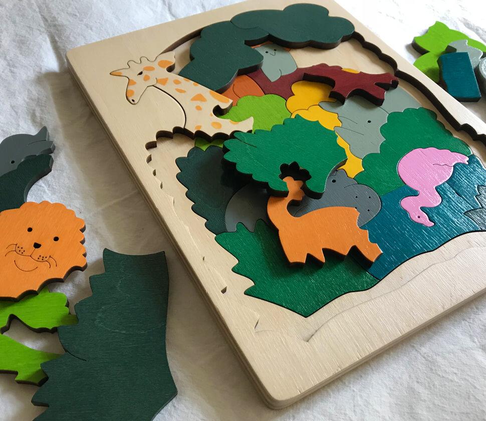 アフリカの生き物のパズル